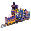 Secondary display comprising engine, ticket booking counter and festoon for seasonal products from Haribo