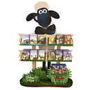 The promotional display in Media Markt and Saturn stores for Shaun the sheep made of wood, metal and plastic holds 168 DVDs and Blu-Ray discs.
