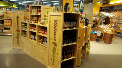 Pop-up store for changing range of regional products