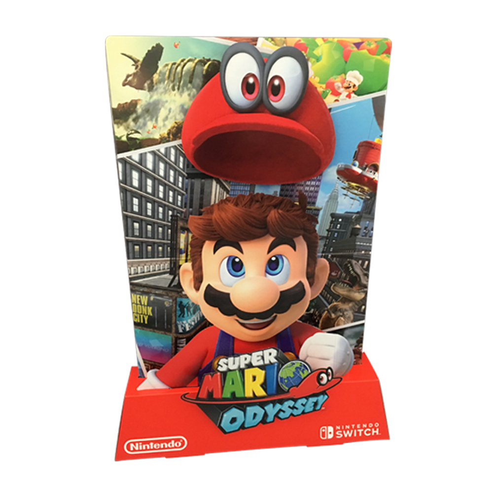 The game's hero also stars in store, featuring on the POS designed