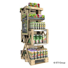 Organic urban gardening display for attractive product presentation