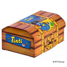 Product packaging in the form of a treasure chest for Tinti
