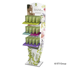PRIMAVERA's organic shower range is presented in eye-catching display