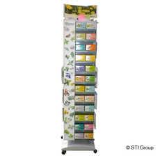 A wide range of products in a small space - The promotional display for Sidroga tea and Emser products is robust, rotating and wheeled.